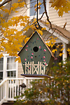 Birdhouse with fall leaves