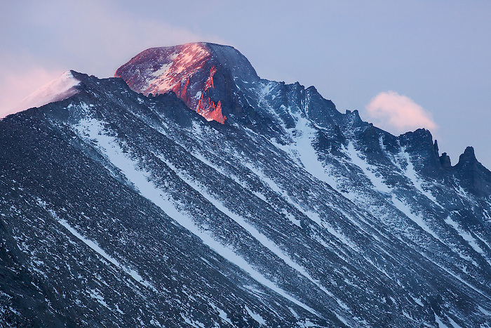 """THE SENTINEL"" - Longs Peak catches the last rays of a stormy winter sunset."