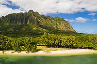 Aerial view of Kualoa Regional Park with the Ko'olau Range, Kane'ohe Bay, Windward O'ahu.