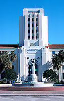 "San Diego: City/County Building. West Elevation.  ""The Guardian of Water"" by Donal Hord. WPA project.  (Photo '80)"