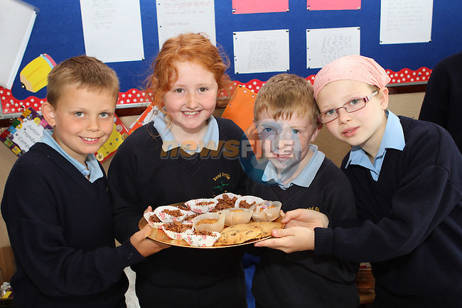 Liam Horan, Emma Cassidy, Ryan McCardle and Grace Magennis at the Cake Sale in Scoil Bhride NS, Dunleer....Photo NEWSFILE/Jenny Matthews.