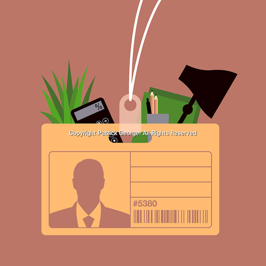 Name tag cardboard box containing possessions of redundant office worker