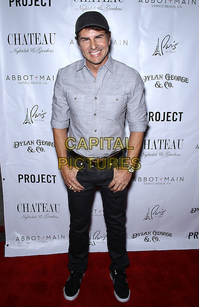 Vincent De Paul.Kellan Lutz celebrates Dylan George and Abbot+Main Spring 2012 collections at Chateau Nightclub inside Paris Las Vegas, Las Vegas, Nevada, USA..August 23rd, 2011.full length back shirt jeans denim grey gray hat.CAP/ADM/MJT.© MJT/AdMedia/Capital Pictures.