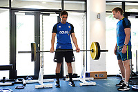 Jackson Willison of Bath Rugby in the gym. Bath Rugby pre-season training on July 2, 2018 at Farleigh House in Bath, England. Photo by: Patrick Khachfe / Onside Images