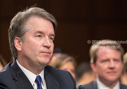 Judge Brett Kavanaugh listens to the controversy about his documents prior to giving testimony before the United States Senate Judiciary Committee on his nomination as Associate Justice of the US Supreme Court to replace the retiring Justice Anthony Kennedy on Capitol Hill in Washington, DC on Tuesday, September 4, 2018.<br /> Credit: Ron Sachs / CNP<br /> (RESTRICTION: NO New York or New Jersey Newspapers or newspapers within a 75 mile radius of New York City)