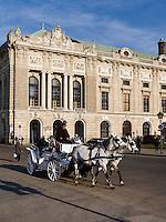 Fiaker auf dem Heldenplatzvor der alten Hofburg, Wien, &Ouml;sterreich, UNESCO-Weltkulturerbe<br /> carriage at Heldenplatz in front of old Hofburg, Vienna, Austria, world heritage