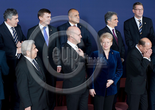 Brussels-Belgium - December 10, 2009 -- European Council, EU-summit under Swedish Presidency; here, group-/ family-photo with (upper row, le-ri): Gordon BROWN, Prime Minister of the United Kingdom; Andrus ANSIP, Prime Minister of Estonia; Boyko BORISSOV, Prime Minister of Bulgaria; Werner FAYMANN, Federal Chancellor of Austria; Matti VANHANEN, Prime Minister of Finland; (lower row, le-ri): Demetris CHRISTOFIAS, President of Cyprus; Fredrik REINFELDT, Prime Minister of Sweden and acting President of the Council; Dalia GRYBAUSKAITE, President of Lithuania; Traian BASESCU, President of Romania -- Photo: Horst Wagner / eup-images