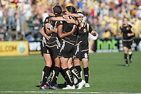 FC Gold Pride Players surround Tiffany Milbrett after scoring the winning goal. FC Gold Pride defeated the Boston Breakers 2-1 at Buck Shaw Stadium in Santa Clara, California on April 5th, 2009. Photo by Kelley Cox /isiphotos.com