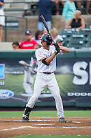 Blake Rutherford (21) of the Pulaski Yankees at bat against the Elizabethton Twins at Calfee Park on July 25, 2016 in Pulaski, Virginia.  The Twins defeated the Yankees 6-1.  (Brian Westerholt/Four Seam Images)