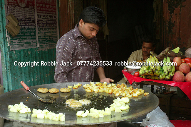 Food vendor in the Paharganj district of New Delhi, India.