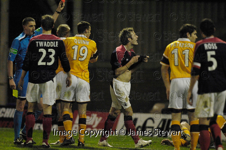25/11/2006       Copyright Pic: James Stewart.File Name :sct_jspa10_motherwell_v_falkirk.ANTHONY STOKES IS SENT OFF.James Stewart Photo Agency 19 Carronlea Drive, Falkirk. FK2 8DN      Vat Reg No. 607 6932 25.Office     : +44 (0)1324 570906     .Mobile   : +44 (0)7721 416997.Fax         : +44 (0)1324 570906.E-mail  :  jim@jspa.co.uk.If you require further information then contact Jim Stewart on any of the numbers above.........