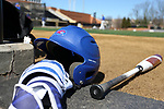 WINSTON-SALEM, NC - MARCH 04: UMass Lowell batting helmet and bat. The Wake Forest University Demon Deacons hosted the UMass Lowell River Hawks on March 4, 2018, at David F. Couch Ballpark in Winston-Salem, NC in a Division I College Baseball game. Wake Forest won the game 14-7.