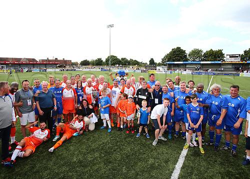 June 17th 2017, Gander Green Lane, Sutton, England; Football Charity Match; Chelsea Legends versus Rangers Legends; Both teams get together at full time after Ranger won 6-4