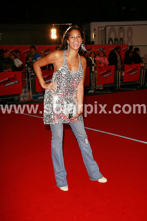 **ALL ROUND PICTURES FROM SOLARPIX.COM**.**WORLDWIDE SYNDICATION RIGHTS**.Guests arrive for the The 2007 Vodafone Live Music Awards at London's Earls Court (Brompton Hall), London, UK. 19th September 2007..This pic: Alesha Dixon..JOB REF: 4773 GMT     DATE: 19_09_2007.**MUST CREDIT SOLARPIX.COM OR DOUBLE FEE WILL BE CHARGED* *UNDER NO CIRCUMSTANCES IS THIS IMAGE TO BE REPRODUCED FOR ANY ONLINE EDITION WITHOUT PRIOR PERMISSION*