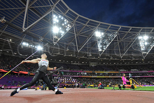 August 12th 2017, London Stadium, East London, England; IAAF World Championships, Day 9;  German athlete Johannes Vetter competes in the javelin event at the IAAF World Championships in London, United Kingdom, 12 August 2017.