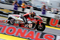 Sep 4, 2017; Clermont, IN, USA; NHRA pro stock motorcycle rider Hector Arana Jr during the US Nationals at Lucas Oil Raceway. Mandatory Credit: Mark J. Rebilas-USA TODAY Sports