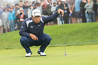 25th January 2020, Torrey Pines, La Jolla, San Diego, CA USA;  Hideki Matsuyama lines up is put on the 3rd green during round 3 of the Farmers Insurance Open at Torrey Pines Golf Club on January 25, 2020