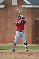 Michael Anastasia (9) of the NJIT Highlanders at bat against the High Point Panthers at Williard Stadium on February 18, 2017 in High Point, North Carolina. The Panthers defeated the Highlanders 11-0 in game one of a double-header. (Brian Westerholt/Four Seam Images)