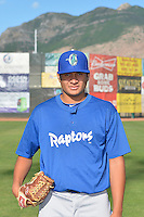 Victor Gonzalez (22) of the Ogden Raptors poses for a photo during media day on June 14, 2014 at Lindquist Field in Ogden, Utah. (Stephen Smith/Four Seam Images)