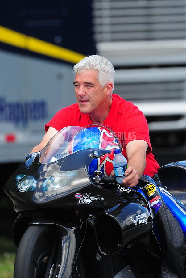 May 15, 2011; Commerce, GA, USA: NHRA pro stock motorcycle rider Mike Berry during the Southern Nationals at Atlanta Dragway. Mandatory Credit: Mark J. Rebilas-