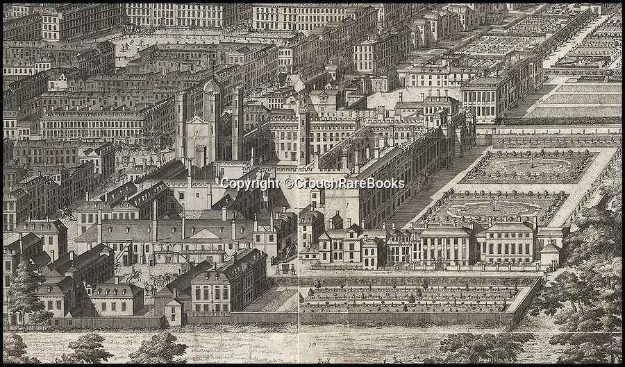 BNPS.co.uk (01202 558833)<br /> Pic: CrouchRareBooks/BNPS<br /> <br /> St James's Palace.<br /> <br /> The largest map of Hanovarian London, that almost didn't see the light of day due to a Royal dispute, is being sold for £60,000.<br /> <br /> A rare and fascinating panorama was drawn 300 years ago, and reveals in incredible detail the layout of the city in the early days of Georgian Britain.<br /> <br /> The piece of art, measuring 40ins by 80ins, was produced in 1717 by Dutch artisan Jan Kip for Caroline of Ansbach, the Princess of Wales. <br /> <br /> But George I banned its publication for 9 years after falling out with his son and daughter in law in a bitter family dispute.<br /> <br /> He finally relented in 1726 allowing the glorious vista showing a far-reaching view from Buckingham House (Buckingham Palace) over St James's Park and Westminster towards the City of London, to be produced.