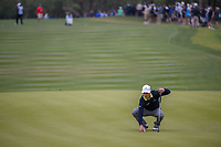 Zach Johnson (USA) lines up his putt on 9 during Round 2 of the Valero Texas Open, AT&amp;T Oaks Course, TPC San Antonio, San Antonio, Texas, USA. 4/20/2018.<br /> Picture: Golffile | Ken Murray<br /> <br /> <br /> All photo usage must carry mandatory copyright credit (&copy; Golffile | Ken Murray)
