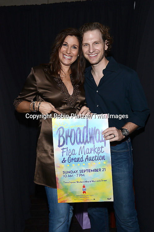 Stephanie J Block, who is pregnant  and husband Sebastian Arcelus attend the 28th Annual  Broadway Cares/ Equity Fights Aids Flea Market and Auction on September 21,2014 in Shubert Alley in New York City. <br /> <br /> photo by Robin Platzer/Twin Images<br />  <br /> phone number 212-935-0770