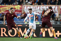 Napoli&rsquo;s Dries Mertens, center, is challenged by Roma&rsquo;s Kostas Manolas, left, and Federico Fazio, during the Serie A soccer match between Roma and Napoli at the Olympic stadium, 4 March 2017.<br /> UPDATE IMAGES PRESS/Isabella Bonotto