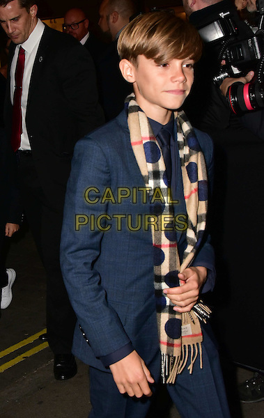 Romeo Beckham  arrives for the premiere of the Burberry festive film at Burberry on November 3, 2015 in London, England.<br /> CAP/JOR<br /> &copy;JOR/Capital Pictures