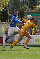 Marcus Haber knocks the ball over Shaun Hutchinson in the Motherwell v St Johnstone Clydesdale Bank Scottish Premier League match played at Fir Park, Motherwell on 28.4.12..