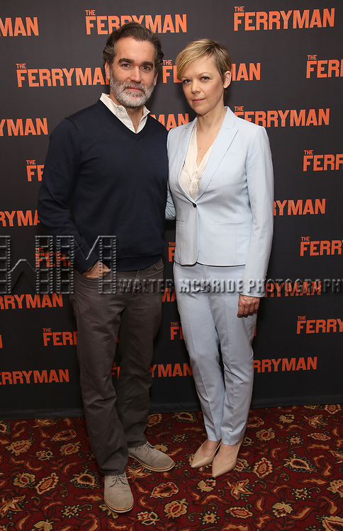 """Holley Fain, Brian d'Arcy James and Emily Bergl attends the """"The Ferryman"""" cast change photo call on January 17, 2019 at the Sardi's in New York City."""