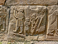 Pictures & Images Hittite relief sculpted orthostat panels of the Sphinx Gate. Panel depicts jugglers. Alaca Hoyuk (Alacahoyuk) Hittite archaeological site  Alaca, Çorum Province, Turkey, Also known as Alacahüyük, Aladja-Hoyuk, Euyuk, or Evuk