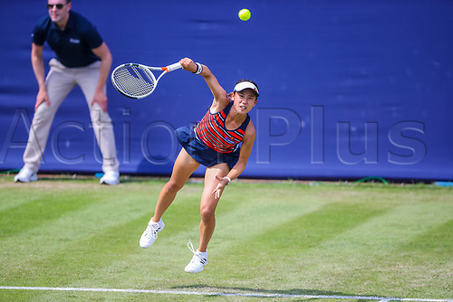 June 18th 2017, Edgbaston Priory Club; Tennis Tournament; Aegon Classic Birmingham; Sunday Qualifiers; Miyu Kato serving against Ipek Soylu