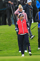 Anna Nordqvist of Team Europe and Marina Alex of Team USA on the 1st green during Day 2 Foursomes at the Solheim Cup 2019, Gleneagles Golf CLub, Auchterarder, Perthshire, Scotland. 14/09/2019.<br /> Picture Thos Caffrey / Golffile.ie<br /> <br /> All photo usage must carry mandatory copyright credit (© Golffile | Thos Caffrey)