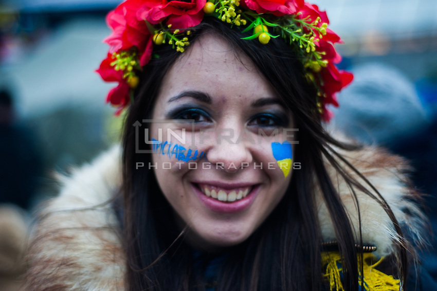 Young ukrainian girl from city Truskavets, as many other students from all over Ukriane came to support protests in the independece square in Kiev. Ukriane in the night of EU samit in Vilnus. Thousands of people are continuing to express their support to european integration and protesting against decision of Ukrainian government to refuse signing of association with EU in Vilnius.