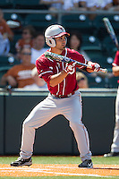 Oklahoma Sooners shortstop Jack Mayfield #8 squares to bunt against the Texas Longhorns in the NCAA baseball game on April 6, 2013 at UFCU DischFalk Field in Austin, Texas. The Longhorns defeated the rival Sooners 1-0. (Andrew Woolley/Four Seam Images).