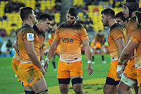 The Jaguares prepare for a lineout during the Super Rugby match between the Hurricanes and Jaguares at Westpac Stadium in Wellington, New Zealand on Friday, 17 May 2019. Photo: Dave Lintott / lintottphoto.co.nz