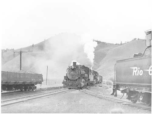 Front view of K-36 #483 and #480 at Sargent with stock train.<br /> D&amp;RGW  Sargent, CO