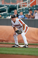 Aberdeen IronBirds first baseman Andrew Daschbach (28) during a NY-Penn League game against the Vermont Lake Monsters on August 19, 2019 at Leidos Field at Ripken Stadium in Aberdeen, Maryland.  Aberdeen defeated Vermont 6-2.  (Mike Janes/Four Seam Images)