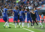 Chelsea's Willian celebrates scoring his sides opening goal during the FA Cup Semi Final match at Wembley Stadium, London. Picture date: April 22nd, 2017. Pic credit should read: David Klein/Sportimage