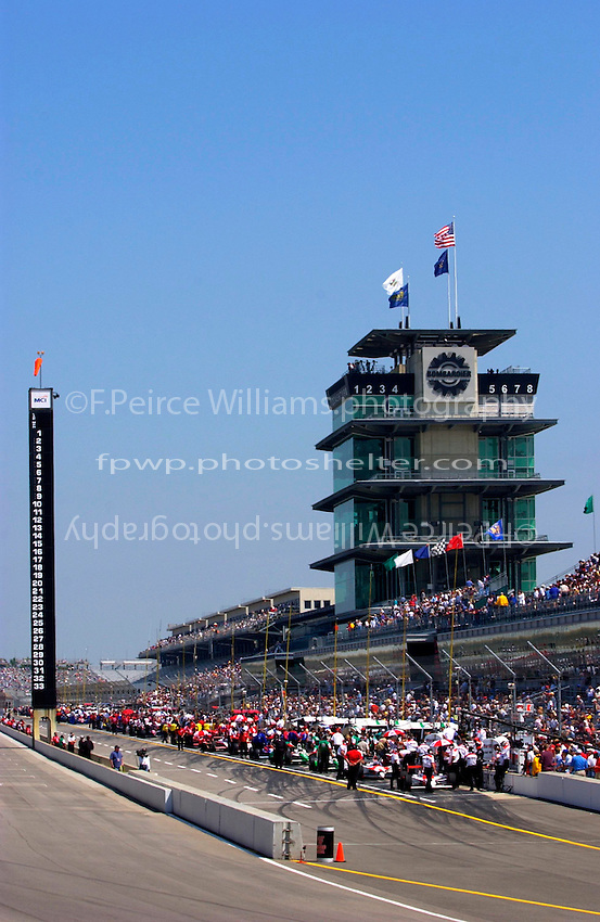 "Carburation Day for the 87th Indianapolis 500, Indianapolis Motor Speedway, Speedway, Indiana, USA  22 May,2003.The Scoring Pylon and Pagoda on ""Carb Day"" morning..World Copyright©F.Peirce Williams 2003 .ref: Digital Image Only..F. Peirce Williams .photography.P.O.Box 455 Eaton, OH 45320.p: 317.358.7326  e: fpwp@mac.com.."