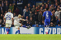 Aleksandar Dragovic of Dynamo Kyiv (2nd left) scores his team's first goal to make it 1-1 during the UEFA Champions League Group match between Chelsea and Dynamo Kyiv at Stamford Bridge, London, England on 4 November 2015. Photo by David Horn.