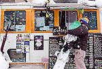A mobile store selling coffee and other fare outside a ski run in Hirafu in the Niseko ski region of Hokkaido, Japan on Feb. 9 2010.