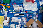 Medical supplies for collaring of Andean cat, Abra Granada, Andes, northwestern ArgentinaAbra Granada, Andes, northwestern Argentina