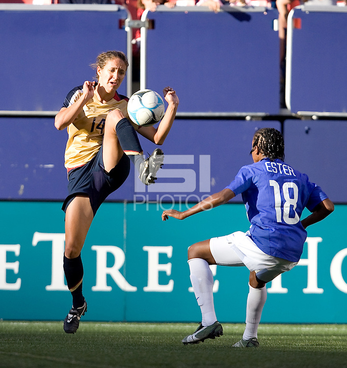 Stephanie Lopez brings the ball down. USA defeated Brazil 2-0 at Giants Stadium on Sunday, June 23, 2007.