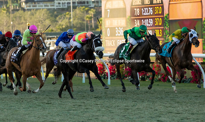 December 2 2018:  #13 Uni, ridden by Joel Rosario, takes on #7 Daddy Is A Legend, ridden by Manuel Franco, #5 Quidura, ridden by Jose Ortiz, and #9 Vasilika, ridden by Flavien Prat,in the stretch of the Matriarch Stakes (Grade l), on December 2, 2018, at Del Mar Thoroughbred Club in Del Mar, CA(Photo by Casey Phillips/Eclipse Sportswire/CSM