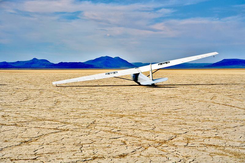 Glider plane landed on the Alvord Desert. Oregon