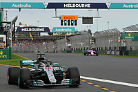 March 24, 2018: Lewis Hamilton (GBR) #44 from the Mercedes AMG Petronas Motorsport team leaves the pit for his qualifying lap at the 2018 Australian Formula One Grand Prix at Albert Park, Melbourne, Australia. Photo Sydney Low