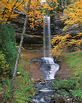 Pictured Rocks National Lakeshore, MI<br /> Munising Falls with surrounding trees in fall color
