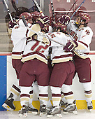BC celebrates - Tim Filangieri, Brian Boyle, Chris Collins, Stephen Gionta, Peter HarroldThe Boston College Eagles completed a shutout sweep of the University of Vermont Catamounts on Saturday, January 21, 2006 by defeating Vermont 3-0 at Conte Forum in Chestnut Hill, MA.